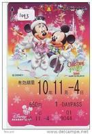 Carte Prépayée Japon * DISNEY  (1093) DISNEY RESORT LINE * TRAIN * PASS *  1-DAYPASS * ADULT * CHRISTMAS * NOEL - Disney
