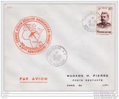 1955 -  Enveloppe Par Avion De Tananarive, Madagascar Vers Paris - 20e Anniv. Du Service Aérien Régulier - Cad Arrivée - Brieven En Documenten