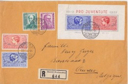 Switzerland 1937 Pro Juventute 4v+m/s On Registred Letter From Zurich To Antwerp (Belgium) (F5975) - Lettres & Documents