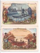 2 X Chromo - Embarcations Primitives - Radeau De Peche Et Pirogue Des Guyanes - R5032 - Autres