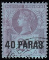 GREAT BRITAIN Turkish Empire - Scott #4 Queen Victoria 'Surcharged' (*) / Used Stamp - Great Britain (former Colonies & Protectorates)