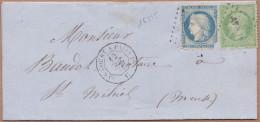 16515# NAPOLEON N° 20 + CERES SIEGE N° 37 LETTRE Obl AVRICOURT A PARIS 1° C 1871 AMBULANT Pour ST MIHIEL MEUSE - Marcophilie (Lettres)