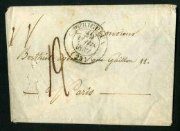FRANCE : LETTRE  DE  PERIGUEUX  POUR  PARIS  DU  29  MARS  1837 , A  SAISIR . - Marcophilie (Lettres)