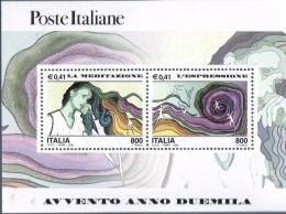 """PIA - ITALIA - 2000 : Avvento Dell´ Anno 2000 """" La  Meditazione - L´ Espressione """"   - (SAS Bf 31) - 6. 1946-.. Repubblica"""