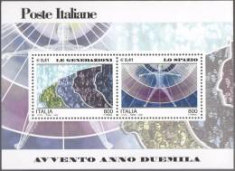 """PIA - ITALIA - 2000 : Avvento Dell´ Anno 2000 """" Le Generazioni - Lo Spazio """"   - (SAS Bf 29) - 6. 1946-.. Repubblica"""