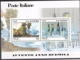 """PIA - ITALIA - 2000 : Avvento Dell´ Anno 2000 """" La Natura - La Città""""   - (SAS Bf 27) - 6. 1946-.. Repubblica"""