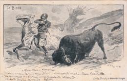 Le Bison (coupe Du Journal Des Voyages Et Envoyée, Précurseur) Chasse, Animée - Animals