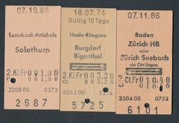 SWITZERLAND AR356 3 Fahrkarte Hasle-Rüegsau Baden Luterbach-Attisholz - Chemins De Fer