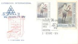 EXPOSICION INTERNACIONAL PRENFIL 74 UPU AÑO 1974 OCTUBRE SPECIAL COVER CON HERMOSA GRAN VIÑETA TBE - Erinnofilie