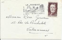 FRANCE Timbre Sur Lettre N° 1423 G MANDEL, Belle Flamme Du Touquet - Frankreich