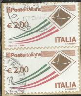 ITALIA REPUBBLICA ITALY REPUBLIC 2009 2015 POSTA ITALIANA € 2,00 COPPIA USATA PAIR USED OBLITERE´ - 2011-...: Gebraucht