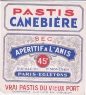 Etiquette  -  PASTIS Canebière  - 45 ° - Apéritif à L'anis - Sec - Etiquettes