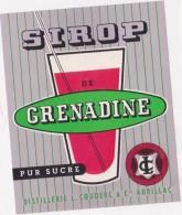 Etiquette  -  SIROP DE GRENADINE - Pur Sucre - Distillerie Couderc à Aurillac - Etiquettes
