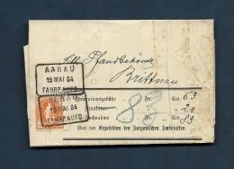 Schweiz Heimat Aargau AARAU 15 MAI 1884 FAHRP.AUTO Im Kasten Mit 20Rp Stehende Auf  Brief Nach Brittnau - Briefe U. Dokumente