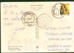 Egypt 2004 Used Postcard Send To Italy (Giza  Sphinx And Pyramid) - Lettres & Documents