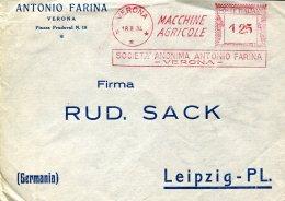 14184 Italia,red Meter/freistempel/EMA/affrancatura Rossa/verona 1934 Società Antonio Farina Macchine Ag, Circuled Cover - Affrancature Meccaniche Rosse (EMA)