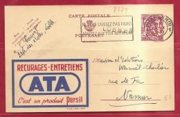 BRFE-7579     PW   PUBLIBEK   677      Stationsnaamstempel    LOBBES   Verzonden Via    CHARLEROI  1947 - Postmark Collection