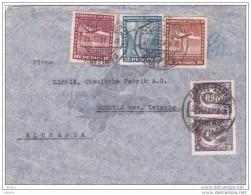 Chili - 1937 - Enveloppe  Par Avion De Santiago Vers Muegeln, Allemagne - Chili