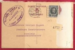 BRFE-7591     PW     Stationsnaamstempel    LIGNY  SUD          Verzonden   Via   BRUSSEL  QL  1926 - Linear Postmarks