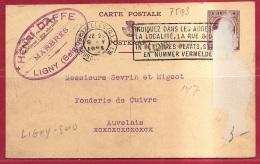 BRFE-7593     PW     Stationsnaamstempel    LIGNY SUD         Verzonden   Via   BRUXELLES QL  1925 - Linear Postmarks