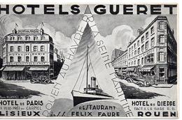 8447. CPA 14 LISIEUX. ILLUSTRATEUR. HOTELS GUERET. LISIEUX ET ROUEN. RESTAURANT DU S.S. FELIX FAURE... - Lisieux