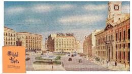 SPAIN, MADRID HOTEL PARIS, PICTURE OF LA PUERTA DEL SOL, FOLD OUT MAP OF CITY - Cartes