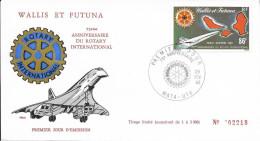 WALLIS Et FUTUNA Poste Aérienne 101 FDC 1er Jour : Avion Concorde Rotary Cachet Mata-Utu 29 Février 1980
