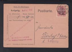Dt. Reich PK Gebührenkasse Leipzig 1922 Lochung Perfin - Deutschland