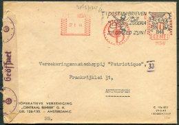 1944 Netherlands Amsterdam Cooperatieve Vereeniging Franking Machine Censor Cover - 'Patriotique' Antwerpen - Period 1891-1948 (Wilhelmina)