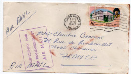 """Jamaique--1975--lettre De CROSS ROADS Pour Chevreuse (France)-timbre Coupé--Beau Cachet""""Insufficiently Paid...."""" - Jamaica (1962-...)"""