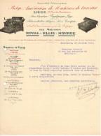 EN 1920 BELGIQUE LIEGE BRUXELLES Machines à Ecrire ROYAL ELLIS MONROE FACTURE PUBLICITAIRE ILLUSTREE DOCUMENT COMMERCIAL - Stamperia & Cartoleria