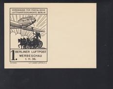 Dt. Reich Bild-PK 1. Berliner Luftpost Werbeschau 1936 Ohne Wertstempel - Germania