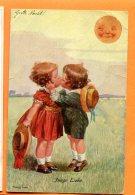 CAL1470, Enfant, Fantaisie, Baiser Amoureux, Chapeau, Lune, Moon, Young Lova, Pli D'angle, Circulée 1922 Sous Enveloppe - Non Classificati