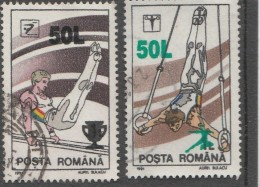 #198  GYMNASTICS, SPORT, 1991, Mi 4655/56, USED, TWO STAMPS, ROMANIA. - Gebraucht