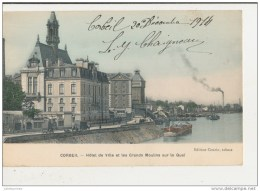 91 CORBEIL HOTEL DE VILLE ET LES GRANDS MOULINS SUR LE QUAI CPA BON ETAT - Corbeil Essonnes