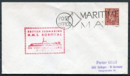 GB HMS RORQUAL Royal Navy Submarine Maritime Mail Hamburg Cover - Ships