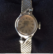 Blanc Diamant D'or Dames Bracelet Montre - White Gold Diamond Ladies Bracelet Watch - Roma Geneva - - Watches: Jewels