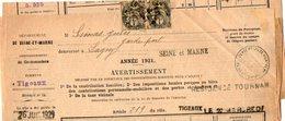 TB 2072 - TIGEAUX - TB Type Blanc Sur Lettre Du Percepteur  à MORTCERF OB TOURNAN Pour LAGNY - Marcophilie (Lettres)