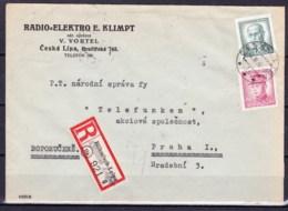 Tchécoslovaquie 1946, Lettre Récommandé Avec Publicité - Covers & Documents