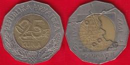 """Croatia 25 Kuna 1997 """"Danube Region"""" BiMetallic - Croatia"""