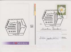 A 189) SSt Backnang 2010, Straßenfest; Auf MILKA GS Pluskarte (Vorderseite: Für Dich, Rose) - Feste