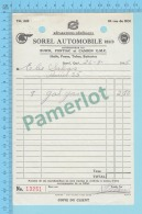 Sorel Quebec Canada - Facture D'essence 8 Gal  $2.80, De Sorel Automobile Reg'd   - 2 Scans - Canada