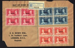 1937  George VI Coronation  Complete Set In Blocks Of 4 On Registered Covers To UK - Niue