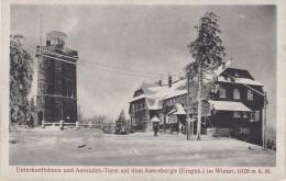 4071i: AK Auersberge, Erzgebirge Im Winter, Unterkunftshaus, 1924 - Auersberg