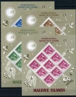 Maldive Islands, 1965, Space, International Quiet Sun Year, United Nations, MNH Sheets, Michel 147-150 - Maldives (1965-...)