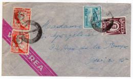 PEROU- Lettre Pour Paris (France)--composition De Timbres - Pérou