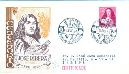 """1954  , SOBRE DE PRIMER DIA DE CIRCULACIÓN , CIRCULADO , ED. 1129 , III CENTENARIO DE RIBERA """" EL ESPAÑOLETO """" - FDC"""