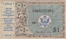 USA Military Payment Certificate #M19 Series 472, 1 Dollar Note Currency - Military Payment Certificates (1946-1973)