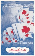 Red Cross Fund Drive, Korean War Era, United Airlines Issued C1950s Vintage Postcard - Red Cross