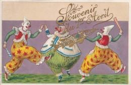 Souvenir Du 1er D'Avril April Fool's Day, Clowns With Fish, C1900s Vintage Postcard - 1° Aprile (pesce Di Aprile)